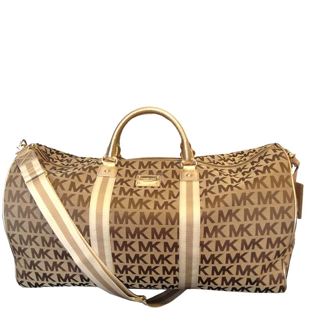 Picture Of Michael Kors Mk Signature Jacquard Duffle