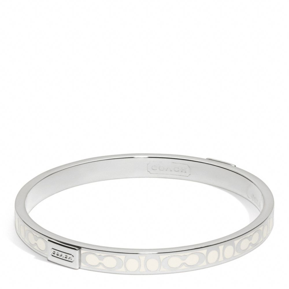 Coach Thin Signature Bangle Silver White