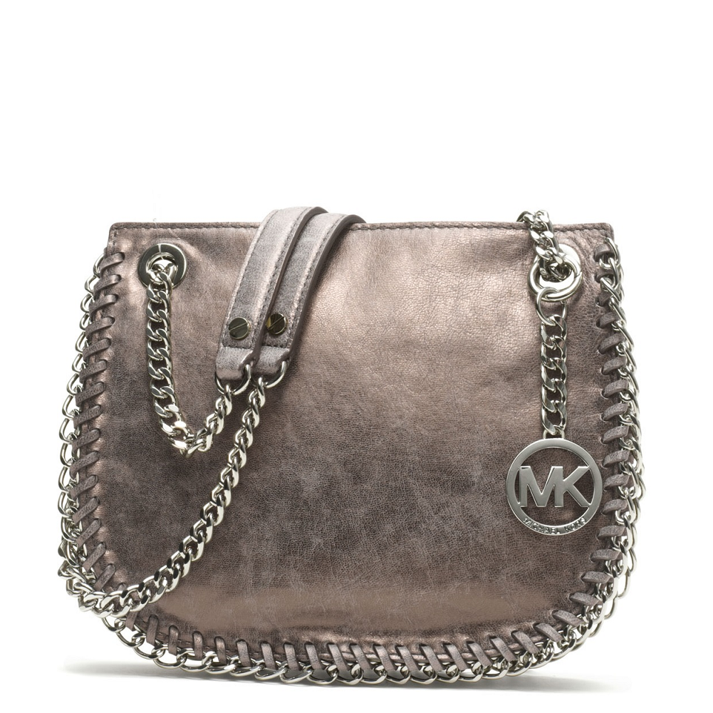 Picture Of Michael Kors Small Chelsea Metallic Messenger
