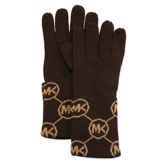 Picture of MICHAEL Michael Kors Knit Logo-Cuff Gloves Chocolate