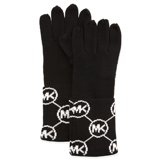 Picture of MICHAEL Michael Kors Knit Logo-Cuff Gloves Black