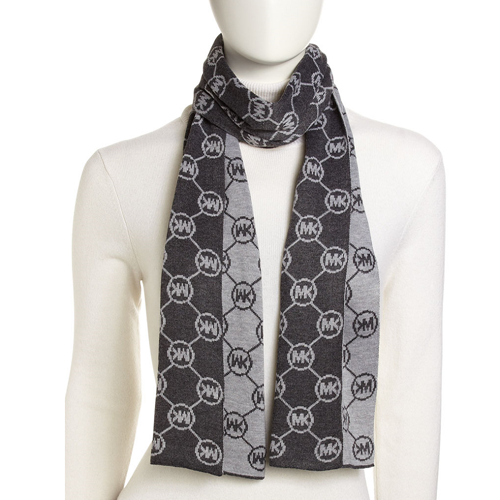 Picture of Michael Kors Circle-Logo Knit Scarf Gray