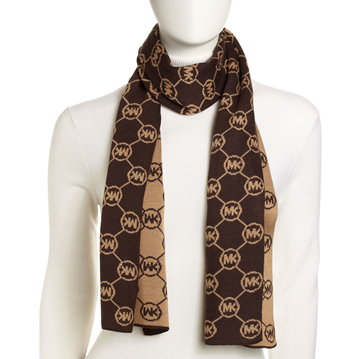 Picture of Michael Kors Circle-Logo Knit Scarf Chocolate
