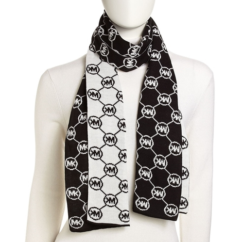 Picture of Michael Kors Circle-Logo Knit Scarf Black