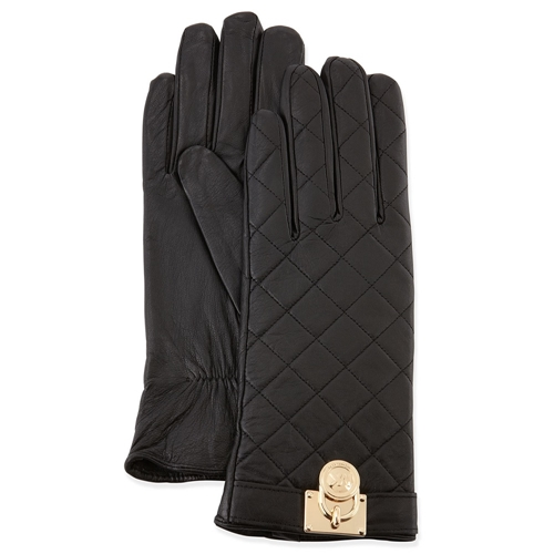Picture of MICHAEL Michael Kors Quilted Leather Padlock Gloves Black