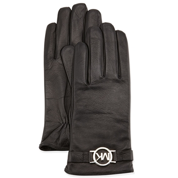 Picture of MICHAEL Michael Kors Leather Circle-Charm Gloves Black