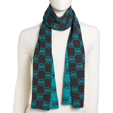 Picture of Michael Kors Circle-Logo Knit Scarf Turquoise