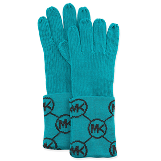 Picture of MICHAEL Michael Kors Knit Logo-Cuff Gloves Turquoise