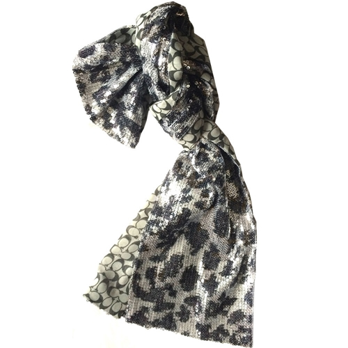 Picture of COACH Sequin Ocelot Skinny Scarf