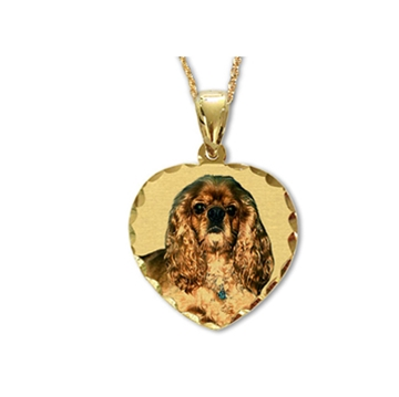 Picture of Heart Shaped Portrait Pendant - Diamond Cut