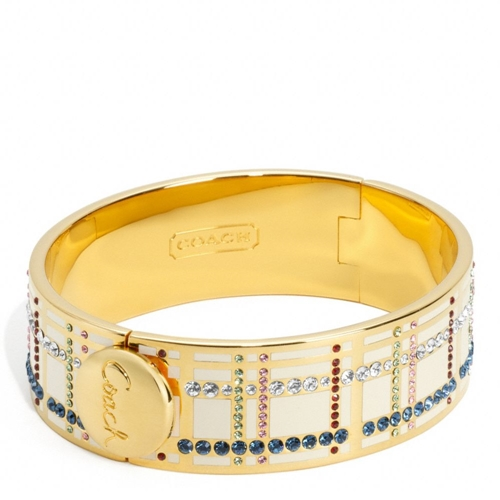 """Picture of COACH 3/4"""" Hinged Tattersal Bangle"""
