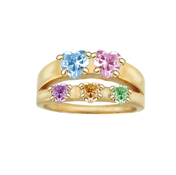 Picture of Adam & Eve Family Ring with Stones