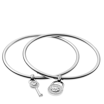 Picture of Michael Kors Padlock/Key Charm Bangle Set Silver
