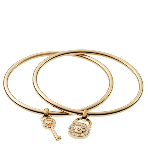 Picture of Michael Kors Padlock/Key Charm Bangle Set Gold