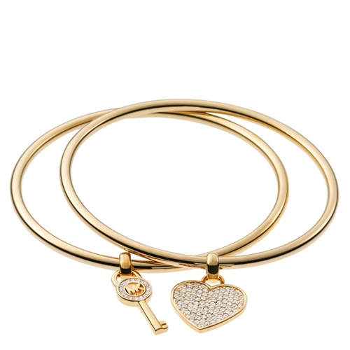 Picture of Michael Kors Heart/Lock Charm Bangle Set Gold