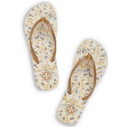 Picture of Tory Burch Printed Thin Flip Flop - Corduroy Brown