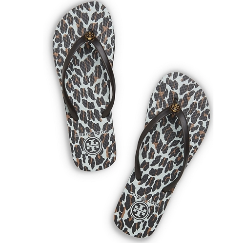 Picture of Tory Burch Printed Thin Flip Flop - Leopard Brown