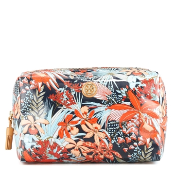 Picture of Tory Burch Medium Brigitte Printed Cosmetic Case, Tory Navy Calathea