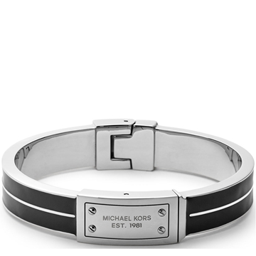 Picture of Michael Kors Logo-Plaque Bangle - Silver