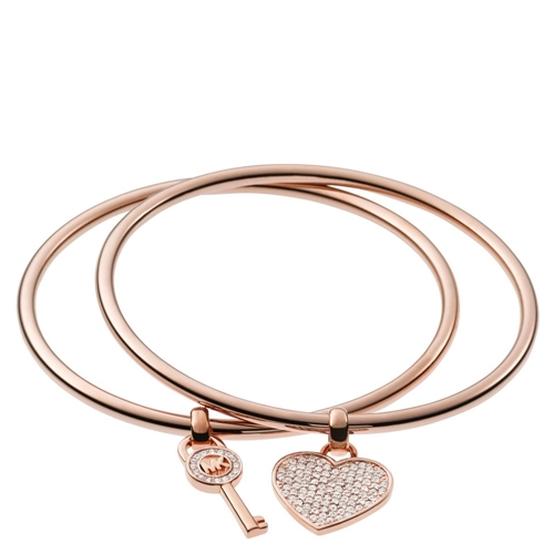 Picture of Michael Kors Heart/Lock Charm Bangle Set Rose Gold