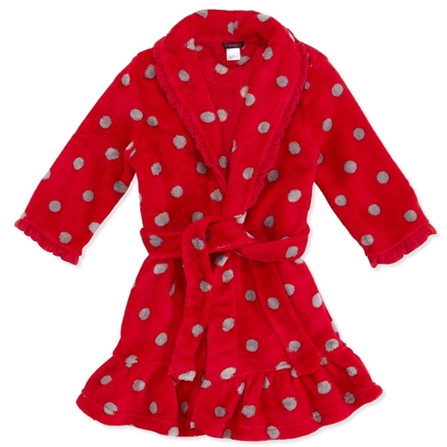 Picture of Petit Lem Plush Robe Polka Dot Print
