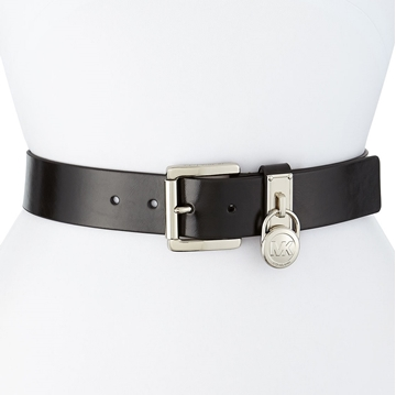 Picture of MICHAEL Michael Kors Logo Lock Charm Leather Belt - Silver