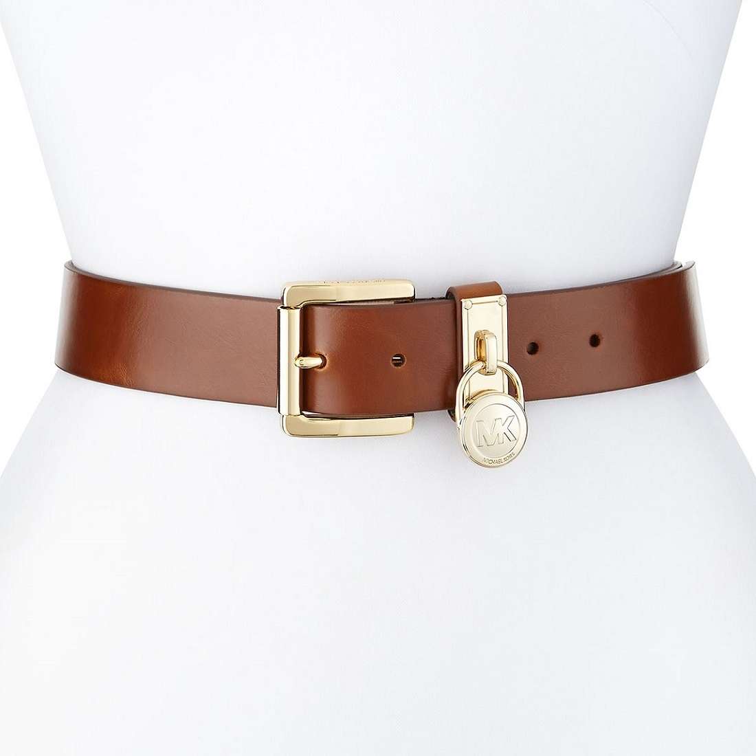 Picture Of Michael Kors Logo Lock Charm Leather Belt Gold