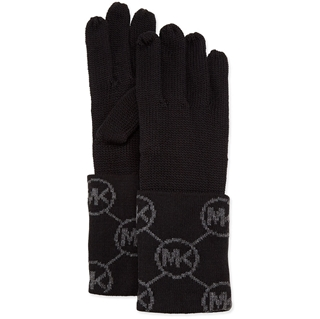 Picture of MICHAEL Michael Kors Knit Logo-Cuff Gloves Derby Black