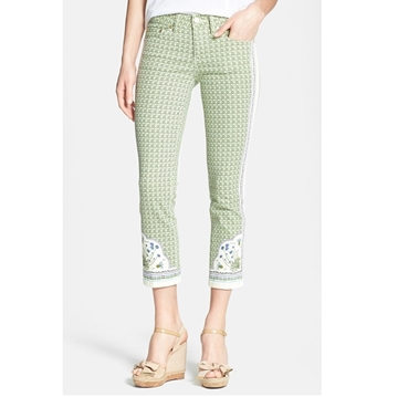 Picture of Tory Burch Mia Print Crop Stretch Slim Leg Jeans