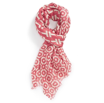 Picture of Tory Burch Red Fret Tile Scarf