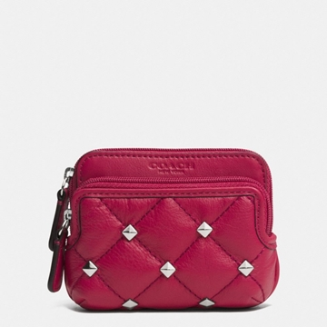 Picture of COACH Metro Quilted Studded Double Zip Coin Wallet