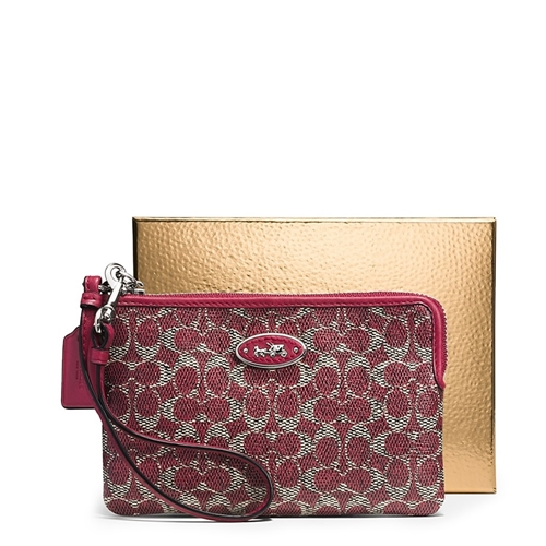 Picture of COACH L-zip Wristlet in Signature Coated Canvas