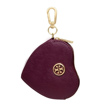 Picture of Tory Burch Saffiano Heart Coin Case Key Fob