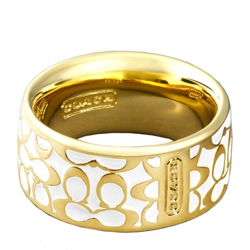 Picture of COACH Miranda Enamel Signature Ring - Gold