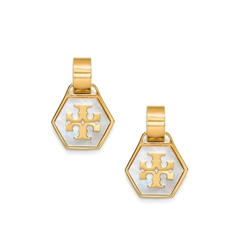 Picture of Tory Burch Mother-of-pearl Geo Drop Earrings