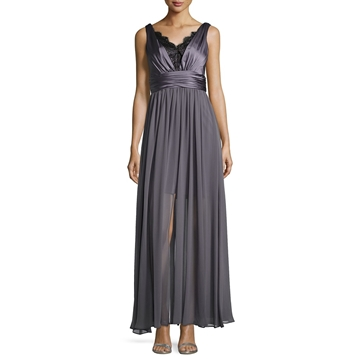 Picture of Vera Wang Lace-Trim Ruched Sleeveless Gown