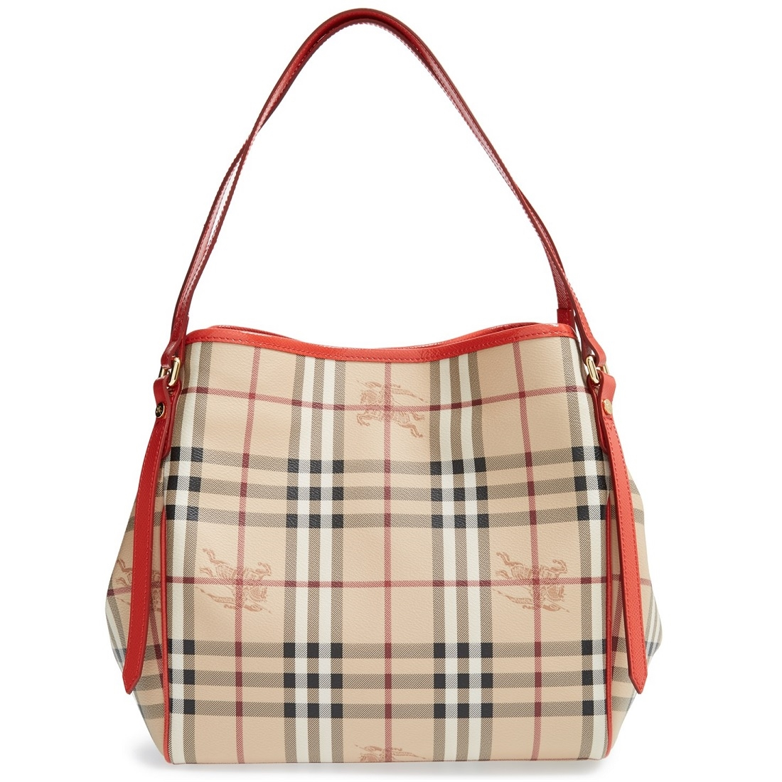 Picture of Burberry Haymarket Patent Colors Small Canterbury Tote - Coral  Red b9ac4c44f11f7