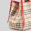 Picture of Burberry Haymarket Patent Colors Small Canterbury Tote - Coral Red