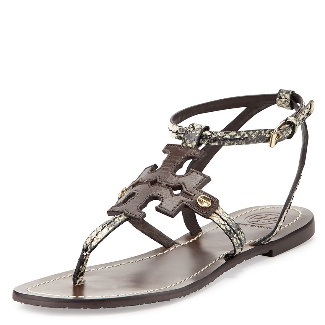 aa82cca451814 Picture of Tory Burch Phoebe Snake-Embossed Flat Sandals